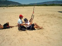 Practice the water start on the beach at playa de Los Lances with Tarifa Max Kite school